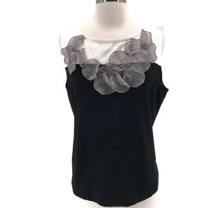Nic and Zoe Cap Sleeve Color Block Top
